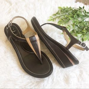 Cole Haan Nike Air Wedge T-Strap Sandals 7.5
